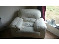4 seater leather sofa, 2 large armchairs and footstool. Collection only.
