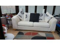Large Cream & Black Sofa converts to SofaBed