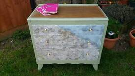 Upcycled solid oak vintage chest of drawers