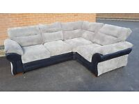 Amazing BRAND NEW large black and grey cord corner sofa. can deliver