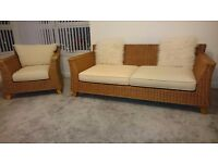 Rattan 4 seater sofa with matching chair