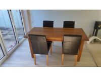 Dark Oak Wood Extendable Dining Table and Chairs