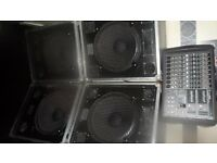 PA System for Sale (1600W mackie Amp and 4 X 500W Cabinets)