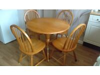 Dining table and chair.