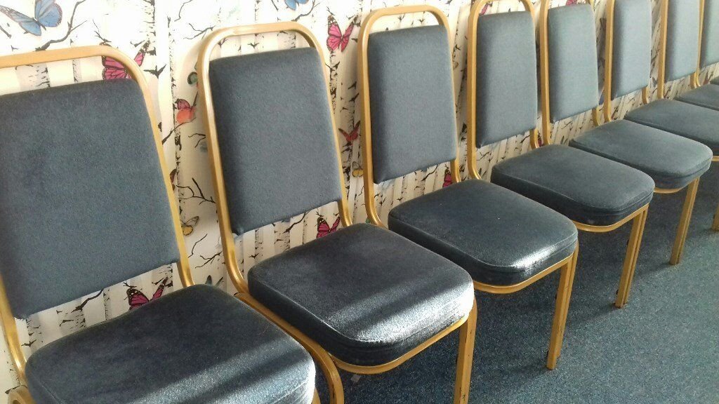 Blue velour and gold Banquet/Event Chairs - 60 of ONLY £5 each