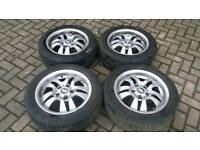 BMW 16 INCH ALLOY WHEELS GOOD TYRES 5X120 DISH E46 E36 T5 VIVARO TRAFIC