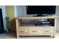 Solid Oak TV stand with 3 drawers to store DVDs etc