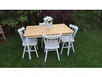 Shabby chic ~ pine table and four chairs