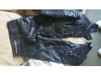 frank thomas womens black 2 piece leathers, size 8,worn less than a dozen times