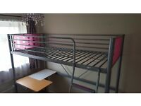 High sleeper bed with desk for girl. 205cm x 95cm x 180 cm. With or without mattress (Almost new!!)