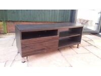 Lovely Wide TV / Television stand with drawer and multiple shelves for dark wood finish