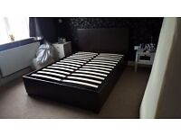 Brown double faux leather ottoman storage bed