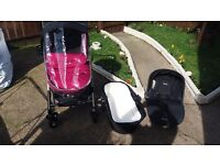 3 in 1 silver cross chrome finish pink ans black .. also come with matching change bag. £350