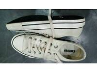 Converse Beige Leather Trainers Size 7