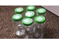 10 x Glass jars 200g perfect for arts, crafts, spices etc