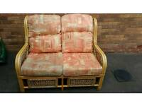 Wicker 2 seater and 2 chairs