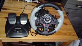 HORI Steering wheel + pedals platform unit - PlayStation