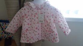 3 Baby Girl Coats 6-9 Months Old