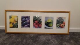 Prints of various fruits in wooden frame £5