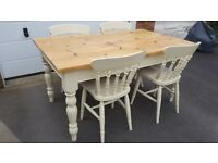 5ft x 3ft Pine Farmhouse Table With 4 Chairs Kitchen Dining Conservatory Family
