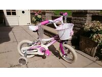 """Girls Giant Puddin Bicycle with 12"""" Wheels in Pink / White"""
