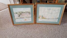 Pair of original water colours 'coastal scenes'