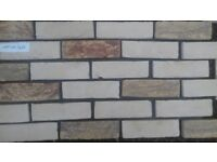 Brick slips: Barock; yellow/white/violet color ref 431a-WDF, Hand molding