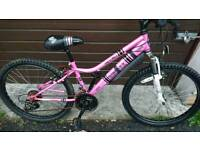 APOLLO GIRLS MOUNTAIN BIKE, 13 INCH FRAME, 24 INCH WHEELS, 18 GEARS, GOOD CONDITION..