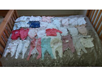 A Bundle of 28 items of Baby Girl's Clothes/0-3months/Great Condition
