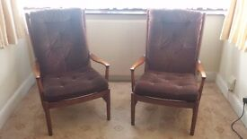 Pair of Parker Knoll Wooden High backed Armchairs Brown Velure Good condition