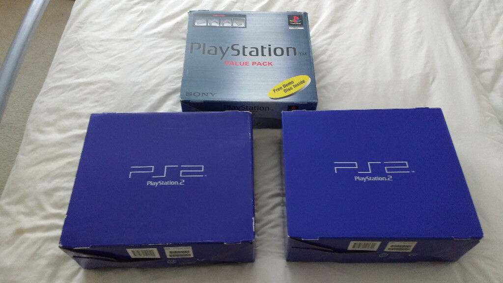 3x Boxed Playstation Consoles (1x PS1 2x PS2)