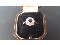 9ct Gold Ring with 8 Diamond Cluster and Blue Sapphire Centre