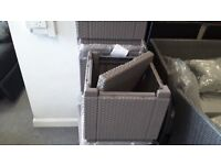 GREY RATTAN EFFECT STORAGE GARDEN STOOLS (5 AVAILABLE) CAN DELIVER
