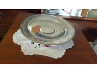 Shallow Patterned Silver Dish in Good Condition