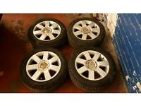 GENUINE AUDI 16 INCH ALLOY WHEELS SUPERB TYRES 5X100 VW GOLF BORA TT S3 POLO IBIZA