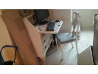 cream desk and chair