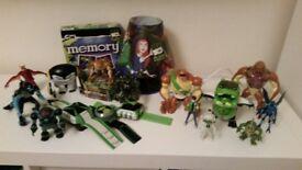 Ben 10 used 13 toys, lamp, 6 books & game bundle