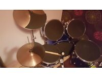 Blue drum kit in good condition