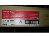 """3M RED FLOOR BUFFING PADS 15"""" PK5"""