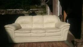 Large cream leather 3 seater sofa