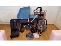 Petrol blue bugaboo cameleon 3 with maxi cosi car seat and extras
