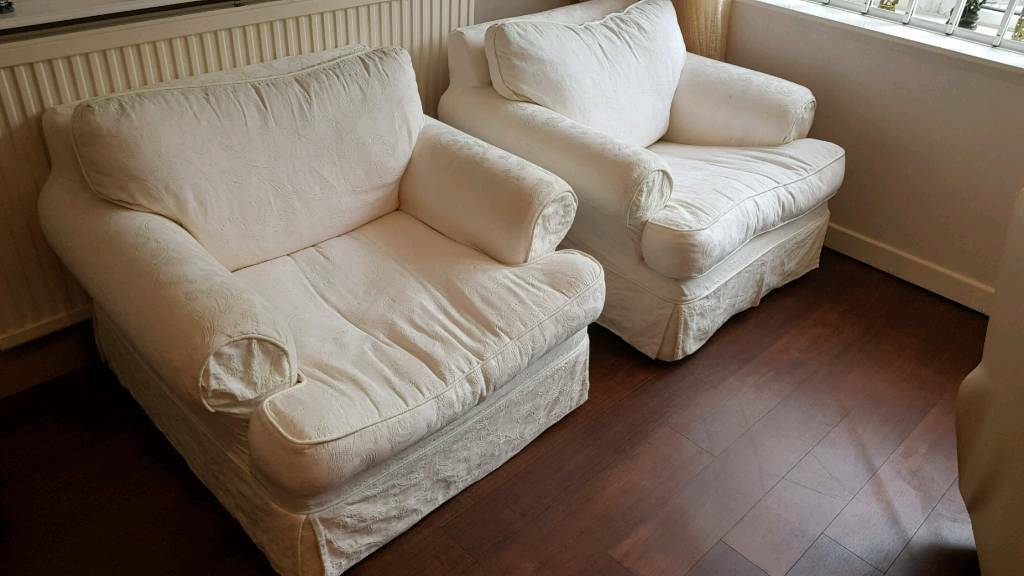 FREE - Two cream armchair sofas with washable covers | in ...