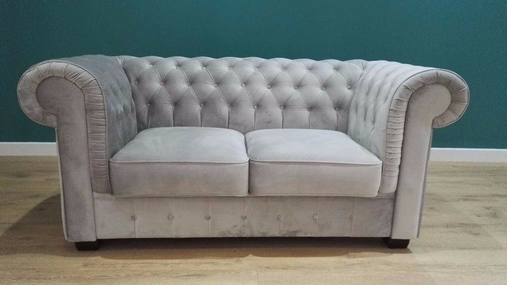 Ex Display Velvet Touch 2 Seater Chesterfield Style Sofa Available For Immediate Delivery in