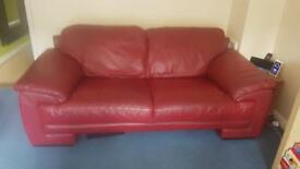 DFS Red Leather Sofa