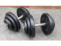 2 x 30KG YORK CAST IRON DUMBBELL WEIGHTS SET