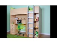 Single bunk bed with desk and storage underneath