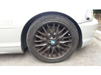 BMW Mv1 staggered alloys x 4 black with tyres