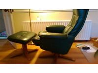 Green leather recliner swivel chairs with matching leather foot stools