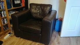 Armchair dark brown faux leather