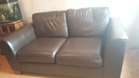Marks and Spencer chocolate brown large leather sofa. In good condition just a few marks.